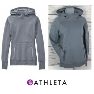 Athleta Hurdle Hoodie Sweatshirt Cobblestone Grey